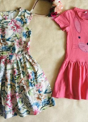 Брендовые модные яркие платьица. цветочное. зайчик. натуральное- хлопок.  состояние идеальное  при п