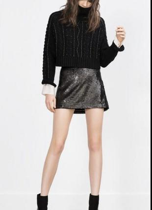 Чёрная юбка zara в пайетки zara нарядная юбка пайетки юбка xs s