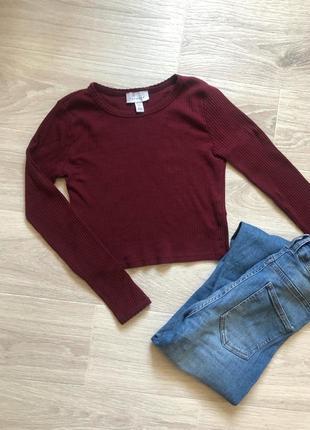 Короткий топ с длинным рукавом свитер бордовый кофта
