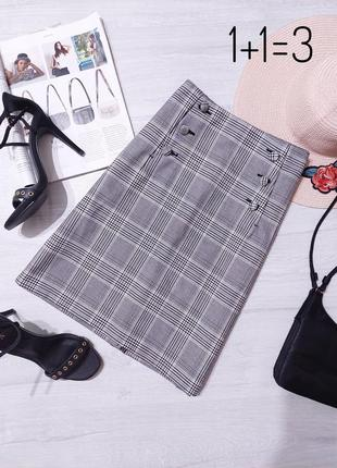 H&m базовая классическая юбка m на талию карандаш прямая строгая короткая мини миди клетка