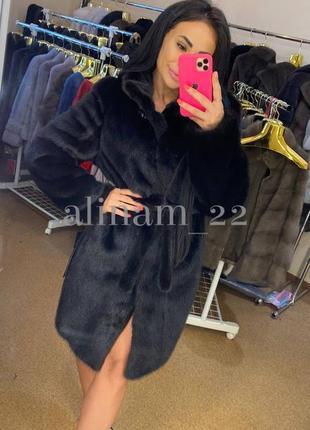 Шуба норковая скидка ♥️♥️♥️натуральная халат норка махагон 90 см
