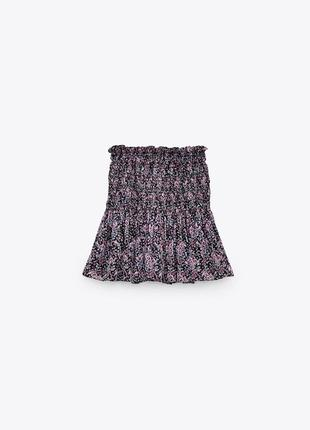 Юбка-шорты сиреневая в цветочный принт шифоновая с металлизированной нитью zara