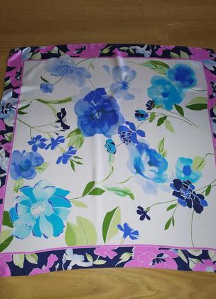 Прекрасный винтажный платок из натурального шелка, италия