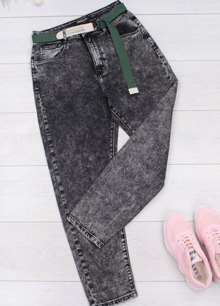 Женские джинсы мом с ремнём есть большие размеры