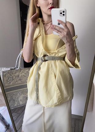 100% лён. летняя рубашка лимонного желтого цвета