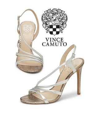 Vince camuto оригинал босоножки серебристые вечерние кожаные на шпильке из сша
