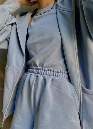Голубой 💙 костюм тройка (майка + свитшот + шорты) 1497