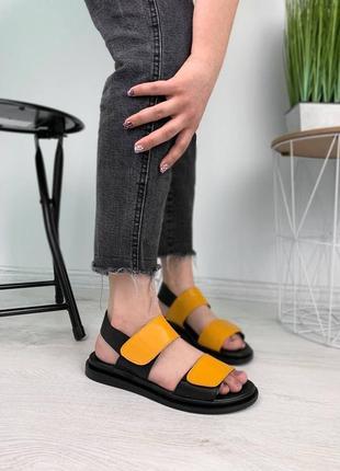 Жовто-чорні босоніжки із натуральної шкіри🧡🖤