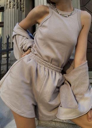 Бежевый мягкий костюм-тройка (майка + шорты + свитшот) 1497