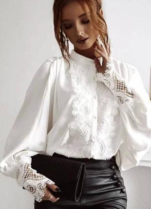 Белая блуза , винтажная блуза , блуза с воротником