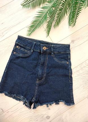 Сині джинсові шорти висока посадка стрейч