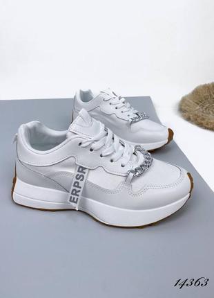 Женские кроссовки с цепью loret, белые, эко-кожа