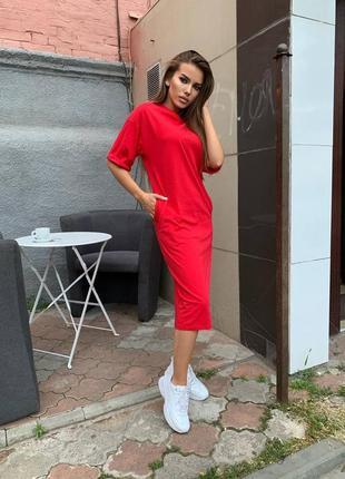 Трендовое базовое платье - футболка миди, цвет - красный, трикотажное платье оверсайз