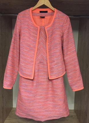 Тёплый шикарный твидовый костюм платье+пиджак vila clothes