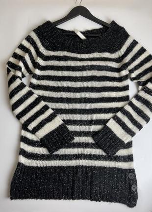 Свитер в черно белую полоску акриловый свитер в полоску размер м длинный свитер вязанный