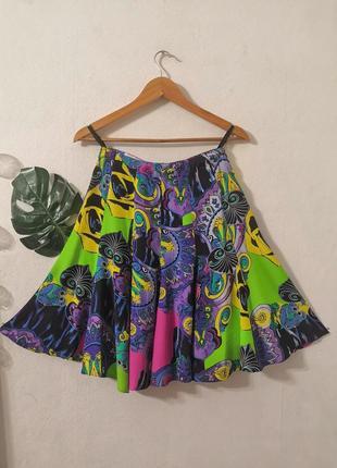 Винтажная мини-юбка в платочный принт, винтаж.