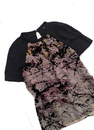Блуза шифоновая / принт / блузка / футболка топ / бархатная вставка