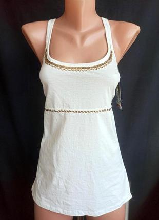Распродажа! хлопковая, майка - топ в бельевом стиле с расшитым бисером и крестообразной спиной