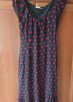"""Красивое летнее платье с оборками moschino, платье миди """"сердечки"""" на подкладке"""