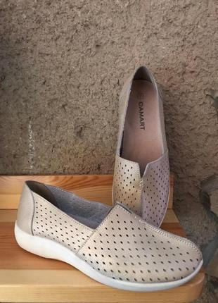 Мягчайшие ортопедические  ультракомфортные кожаные туфли damart