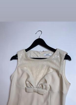 Нарядное платье цвета шампань luckylu размер м/л платье пайетки