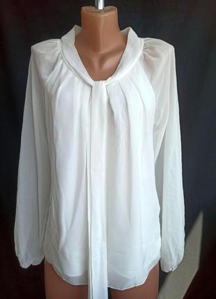 Распродажа! белоснежная, полупрозрачная лёгкая блузка свободного кроя, джемпер с шалевым галстуком