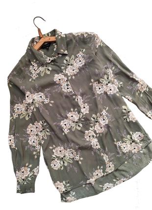 Рубашка / ретро винтажный принт / цветочный / удлиненная блуза / сорочка / блузка