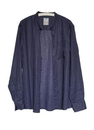 Льняная мужская темно-синяя рубашка лен с длинным рукавом