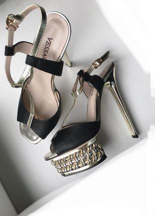 Кожаные туфли босоножки vessardi из натуральной кожи высокие на шпильке шпильках каблуке каблуках вечерние нарядные1 фото