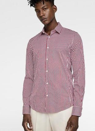 Мужская рубашка в полоску слим от зара zara man slim