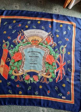 Винтажный шёлковый платок к серебряной свадьбе королевы елизаветы и филиппа liberty