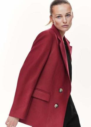 George новий актуальний двубортний базовий піджак жакет блейзер пальто теракотового кольору діловий оверсайз прямого крою м/l xl  р.12 14 16