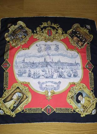Винтаж! прекрасный коллекционный платок, натуральный шелк, роуль