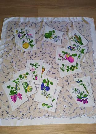 Винтажный нежный платок из натурального шелка, шов роуль