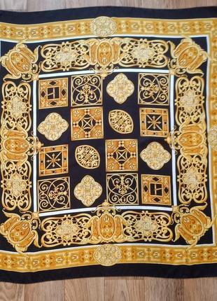 Красивый винтажный шелковый платок жаккардовый шелк