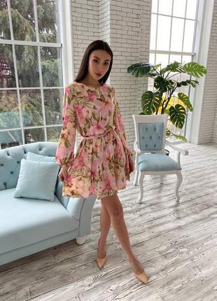 Женское стильное летнее легкое платье цветочный принт 💖