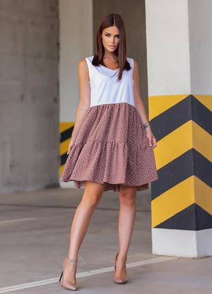 Платье женское миди с коротким рукавом повседневное свободное софт