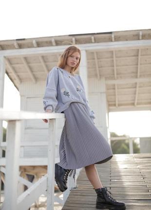 Базовая серая юбка миди5 фото