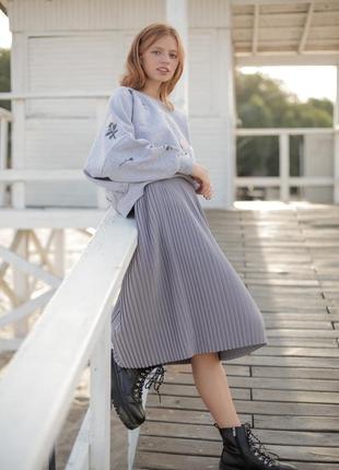 Базовая серая юбка миди3 фото