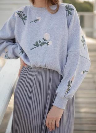 Базовая серая юбка миди6 фото