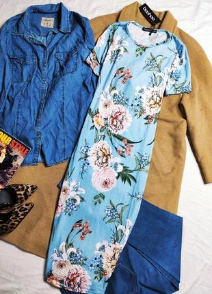 Boohoo платье сарафан голубое длинное миди прямое по фигуре новое цветочный принт