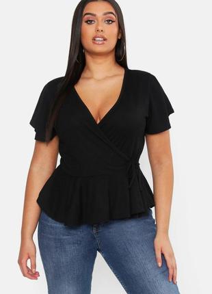 Boohoo блуза кофта футболка в рубчик большая батал с пояском на запах новая с воланом