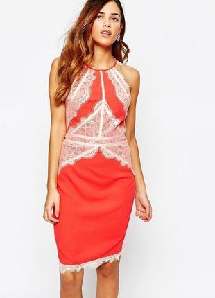 Lipsy платье миди классическое оранжевое коралловое бежевый гипюр