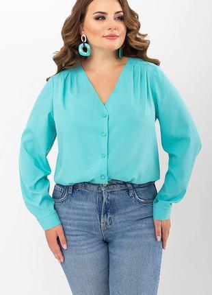 Бирюзовая блуза с v-образным вырезом, арт. 72255