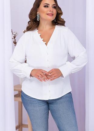 Белая блуза с пуговицами батал, 71825