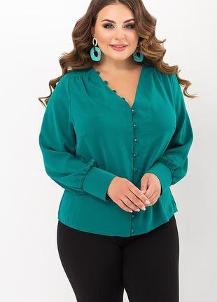 Изумрудная блуза с пуговицами батал, 71825