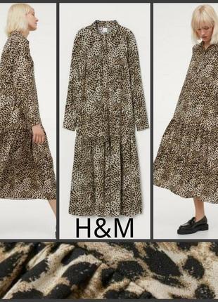 H&m свободное натуральное платье бохо оверсайз длинное макси в пол рюша оборка волан принт