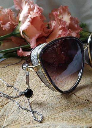 Цепочка для очков серебристая с натуральным обсидианом2 фото