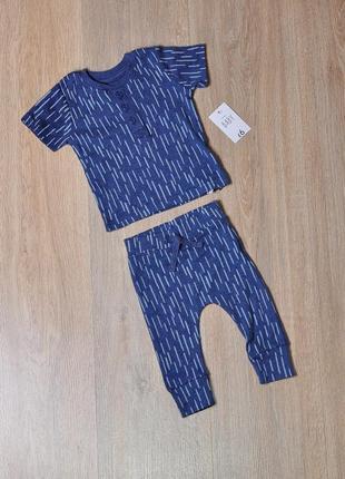 Костюм george 0-3 мес. новый летний красивый комплект набор футболка штаны штанишки штанці штани модный стильный чоловічок человечек песочник ромпер