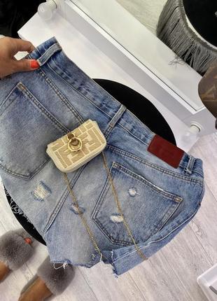 Крутые голубые джинсовые шорты zara6 фото
